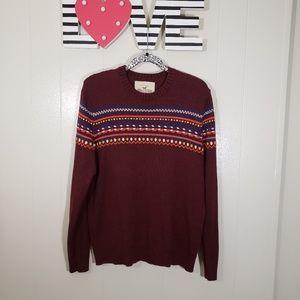 HOLLISTER Cotton Blend Vibrant Aztec Sweater XL